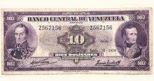 VENEZUELA 10 Bolívares , Junio-18-1959, Serie Z7, F/VF