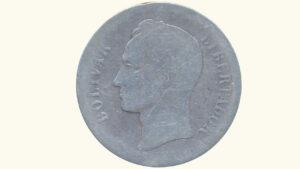VENEZUELA 2 Bolívar, 1879, P/G
