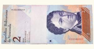VENEZUELA 2 Bolívares Fuertes (Fajo), Mayo-24-2007, Serie H8 Capicúa UNC