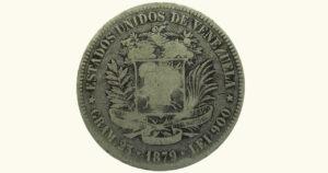 """VENEZUELA 5 Bolívares """"Fuerte de plata"""", 1886, F/VF"""