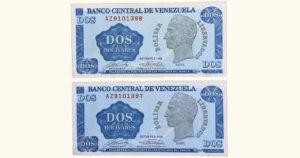 VENEZUELA 2 Bolívares, Oct-05-1989, Serie AZ7 XF/AU