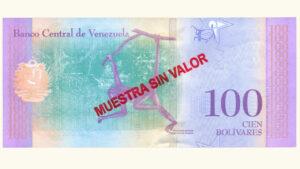 Venezuela 100 Bolívares Soberanos, Enero-15-2018, Serie A8 Muestra Sin Valor AU+