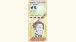 Venezuela 500 Bolívares Soberanos, Mayo-18-2018, Serie B8 Muestra Sin Valor UNC