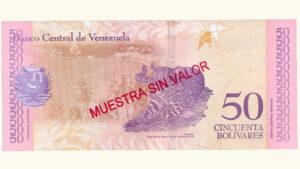 Venezuela 50 Bolívares Soberanos, Enero-15-2018, Serie A8 Muestra Sin Valor UNC