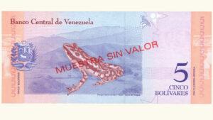 Venezuela 5 Bolívares Soberanos, Enero-15-2018, Serie A8 Muestra Sin Valor UNC