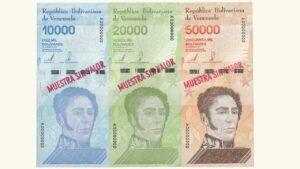 Venezuela Set 10000-50000 Bolívares Soberanos, Enero-22-2019, Serie A8 Muestra Sin Valor AU+/UNC
