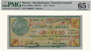 México 1 Peso, 1915, Serie P6, PMG 65
