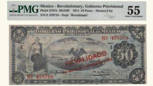 México 50 Pesos, 1914, Serie E6, PMG 55