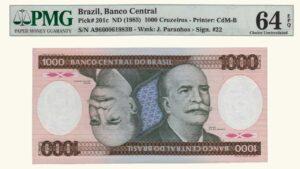 Brasil 1000 Cruzeiros, 1985, Serie A11, PMG 64