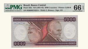 Brasil 5000 Cruzeiros, 1981-85, Serie B11, PMG 66