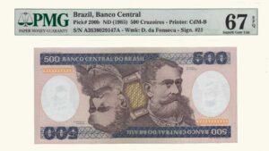 Brasil 500 Cruzeiros, 1985, Serie A11, PMG 67