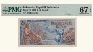Indonesia 2 1/2 Rupia, 1961, Serie EMP6, PMG 67