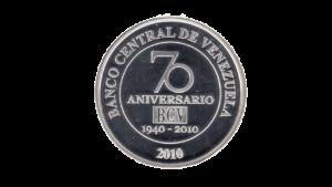 "VENEZUELA 50 Bolívares Fuertes ""70 Aniversario BCV"", 2010, AU/UNC"