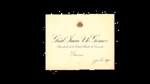 VENEZUELA, Tarjeta de Presentación Presidencial,  Gral. Juan Vicente Gómez, Julio-1913