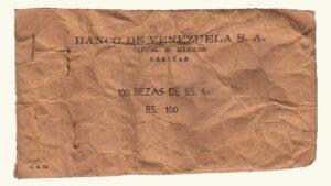 VENEZUELA, Banco De Venezuela, Bolsa De Papel Para Embalar Monedas de Bs. 1