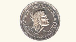 """VENEZUELA Medalla Serie Aborígenes De Venezuela """"Cacique Guaicamacuto"""" XF/AU"""