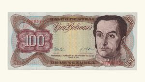 VENEZUELA 100 Bolívares, Marzo-05-1974, Serie J7 AU+