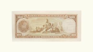 VENEZUELA 100 Bolívares, Marzo-18-1969, Serie V7, XF+/ AU