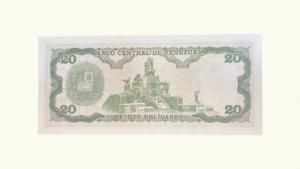 VENEZUELA 20 Bolívares, Septiembre-25-1984, Serie Q8, UNC.