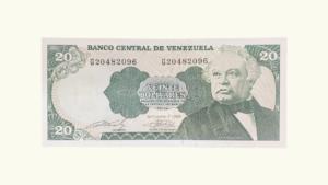VENEZUELA 20 Bolívares, Sept-07-1989, Serie G8, UNC