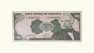 VENEZUELA 20 Bolívares, Sept-07-1989, Serie L8, UNC
