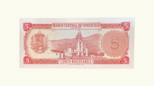 VENEZUELA 5 Bolívares, Enero-29-1974, Serie Z7, AU
