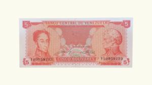 VENEZUELA 5 Bolívares, Sept-21-1989, Serie Y8, UNC.