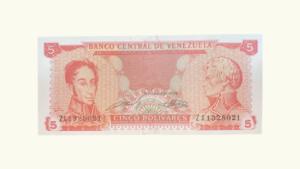 VENEZUELA 5 Bolívares, Sept-21-1989, Serie Z8, UNC
