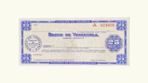 VENEZUELA, Banco De Venezuela, 25 Bolivares, Cheque de Viajero UNC