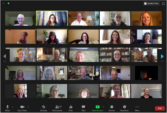 Some of the 30 or so participants in the July Advanced iRest Retreat, this year offered flawlessly on-line.