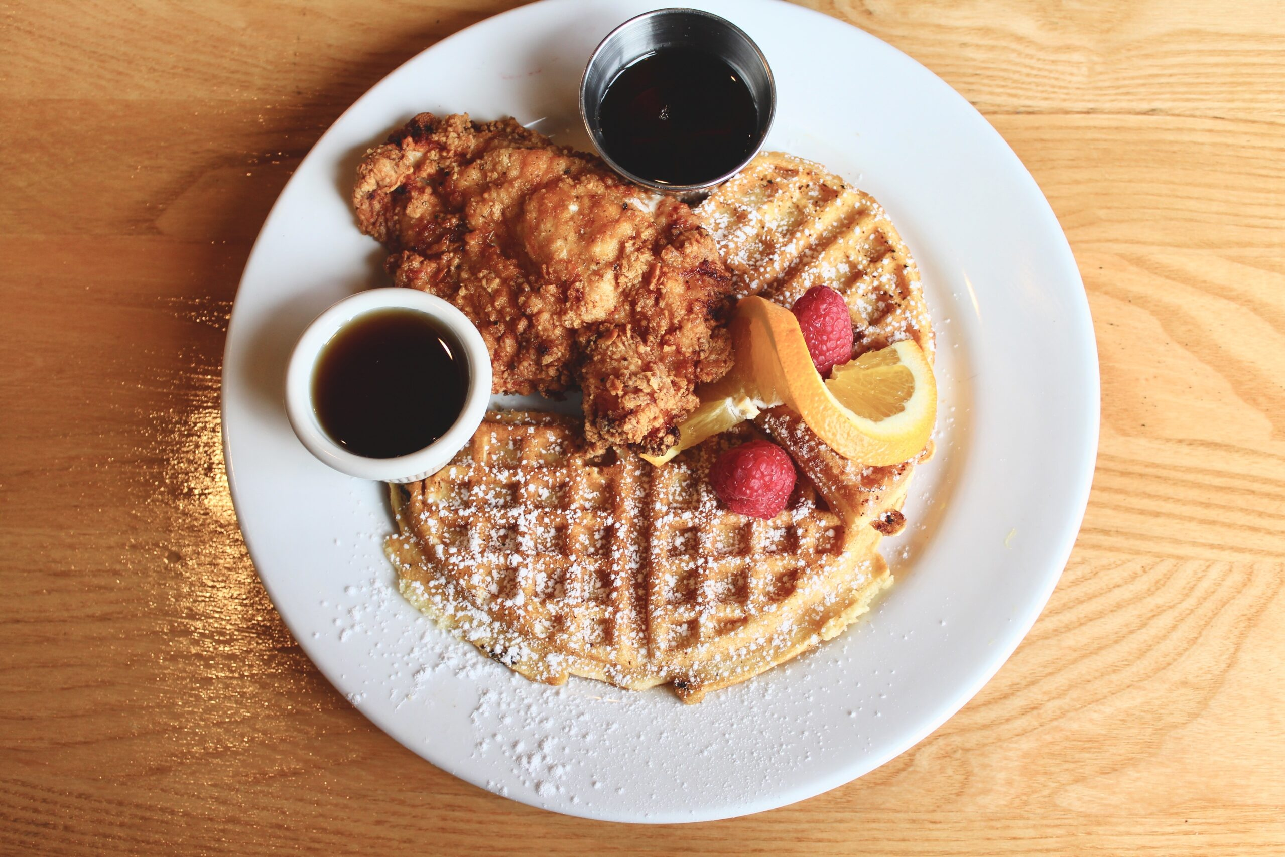 chicken & waffles at Shugga Hi Bakery & Cafe