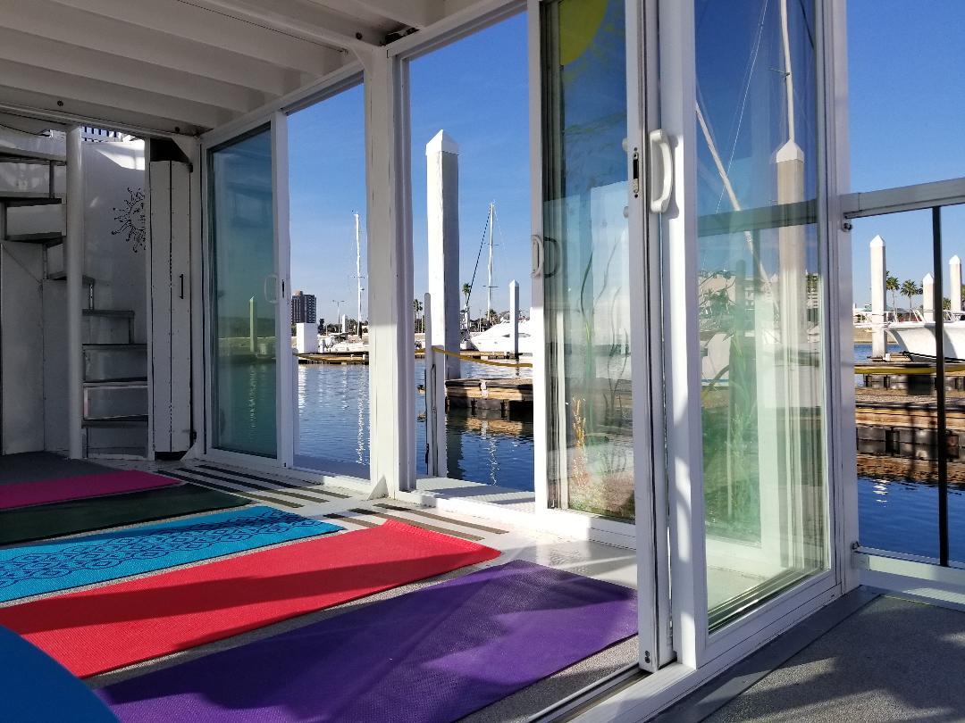 Yoga inside the houseboat studio