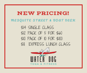 Yoga class prices at Water Dog CC
