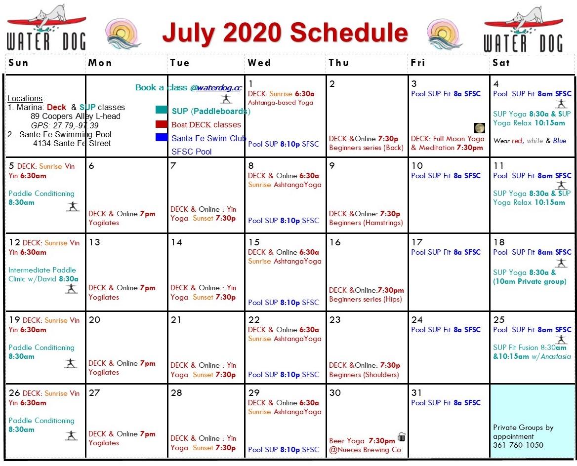July 2020 Schedule: