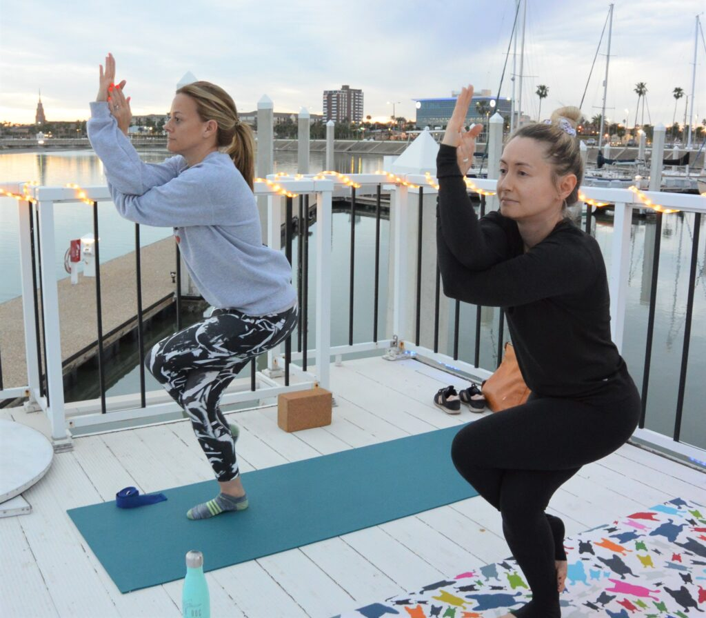 Yoga on the boat deck