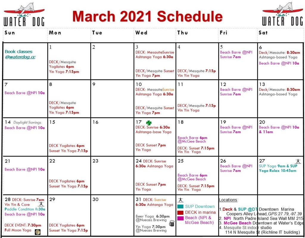 Water Dog March calendar