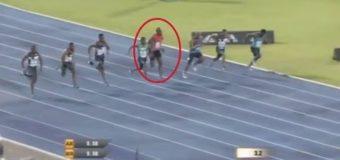 Usain Bolt SLIPS during 100m race
