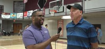 Jason Mudd Interviewing Liberty Head Boys Basketball Coach Roger Stirtz At Cascade Sports BLM Wave Of The Future Classic.
