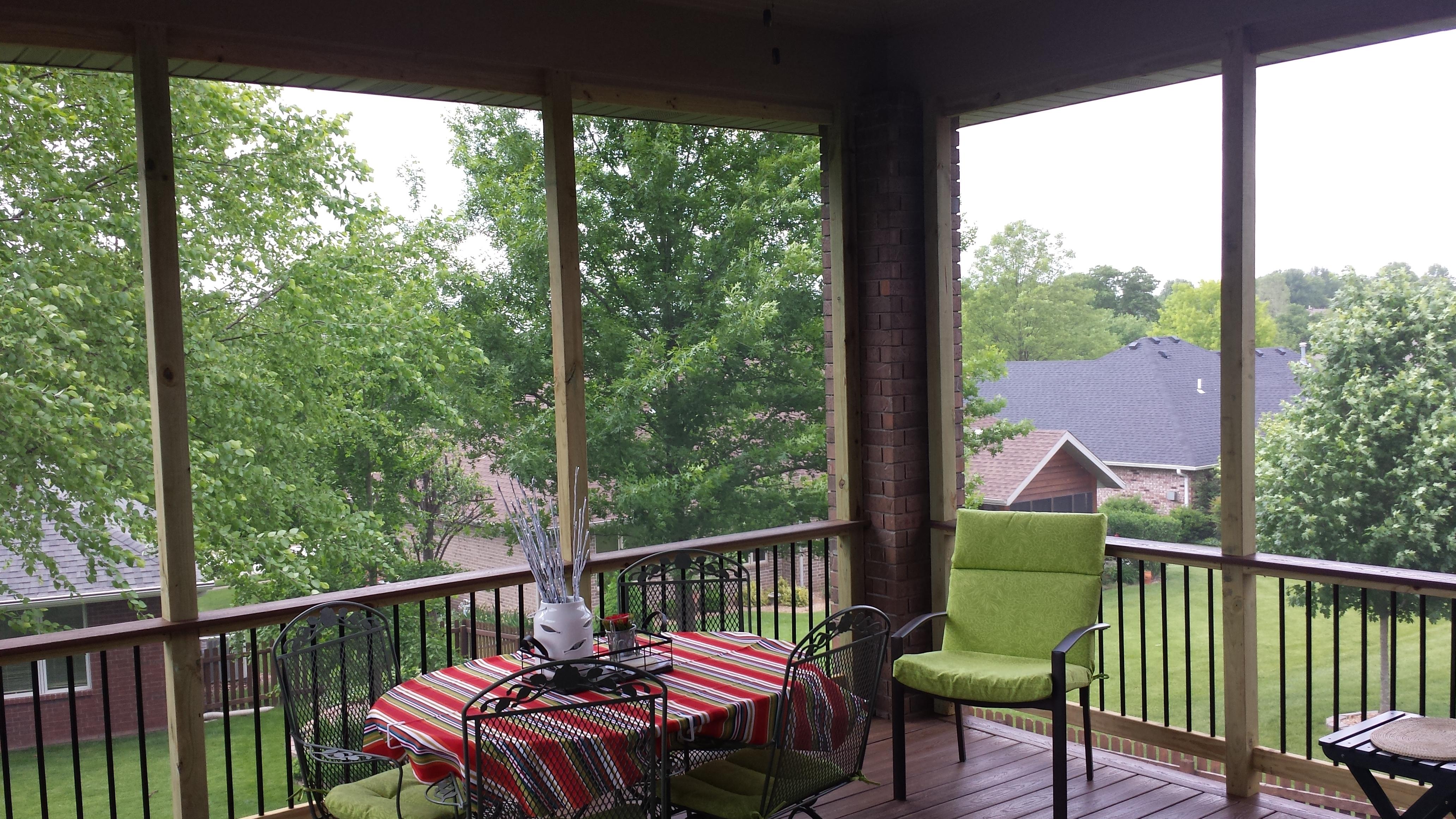 Inside the upper deck porch