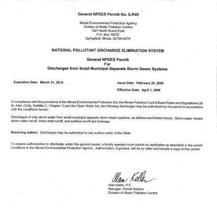 National Pollutant Discharge Elimination System General (NPDES) Permit
