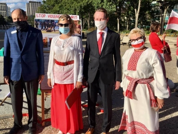 Attending and speaking at a rally supporting people in Belarus fighting for freedom. Sept. 3 2020