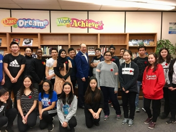Great talking to Grade 9 students at Londonderry Jr. High. Good questions from very smart kids - Nov. 9, 2018