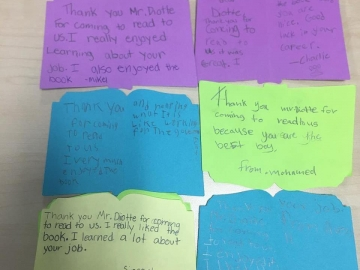 The kids from Norwood School sent hand-made thank you cards after I read a book to them and did a talk about MP life - October 19, 2018