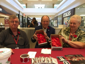 With Shirley and Bill at Londonderry Mall offering poppies for Remembrance Day and taking donations to support our veterans. Nov. 9, 2018