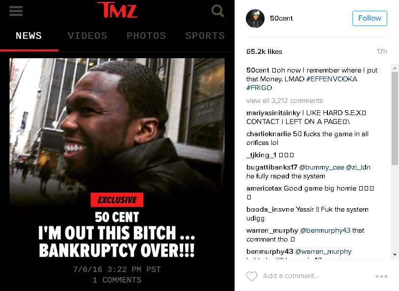 50 Cent bankruptcy over
