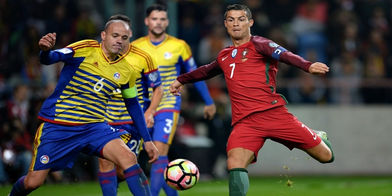AVEIRO, PORTUGAL - OCTOBER 07: Cristiano Ronaldo of Portugal scores a goal during the 2018 FIFA World Cup Qualifiers, Group B, first leg match between Portugal and Andorra at the Aveiro Municipal stadium on October 07, 2016 in Aveiro, Portugal. (Photo by Octavio Passos/Getty Images)