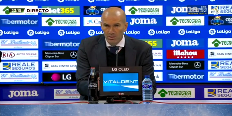VÍDEO | Rueda de prensa de Zinedine Zidane tras el partido ante el Getafe