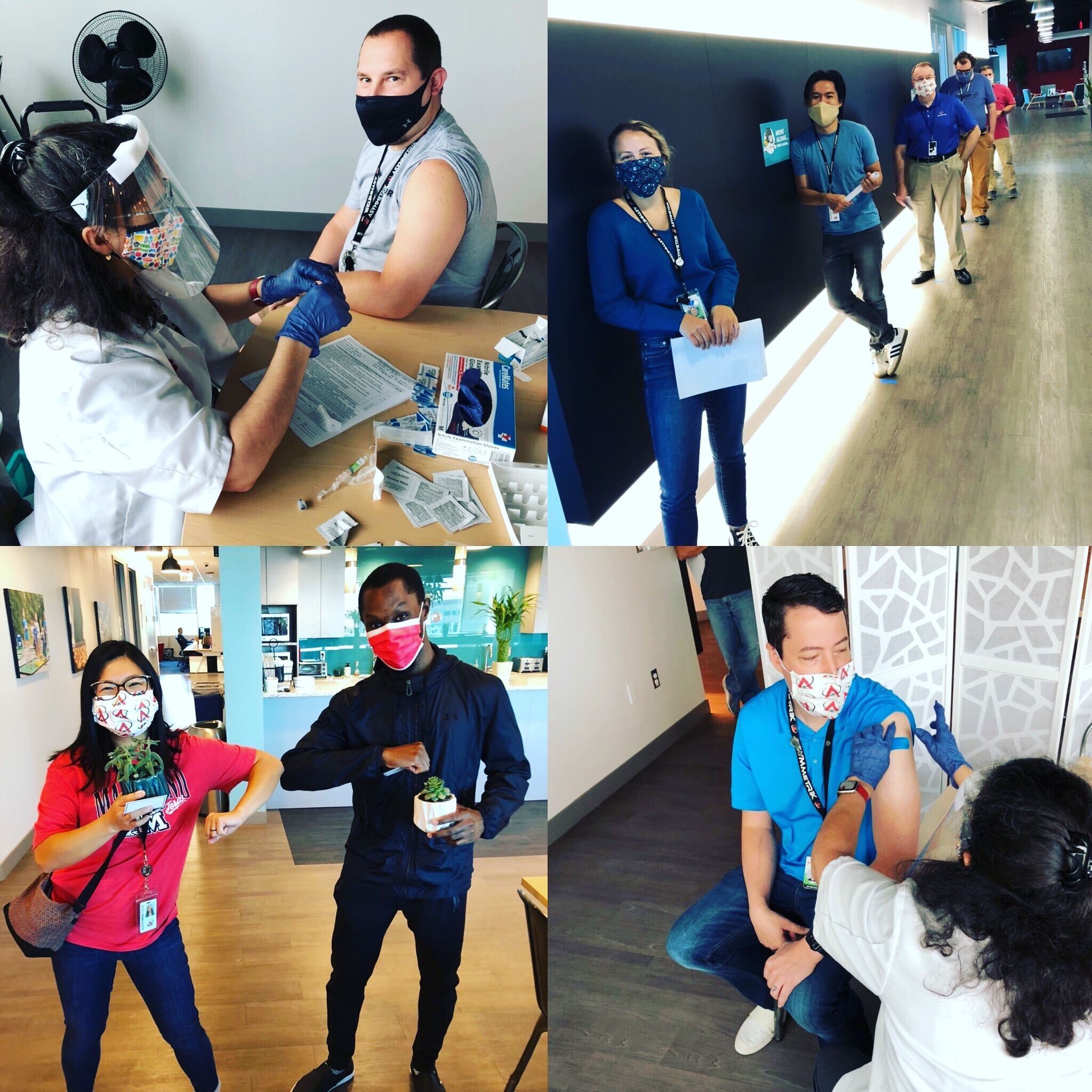 photo collage of employees getting flu shots in an office
