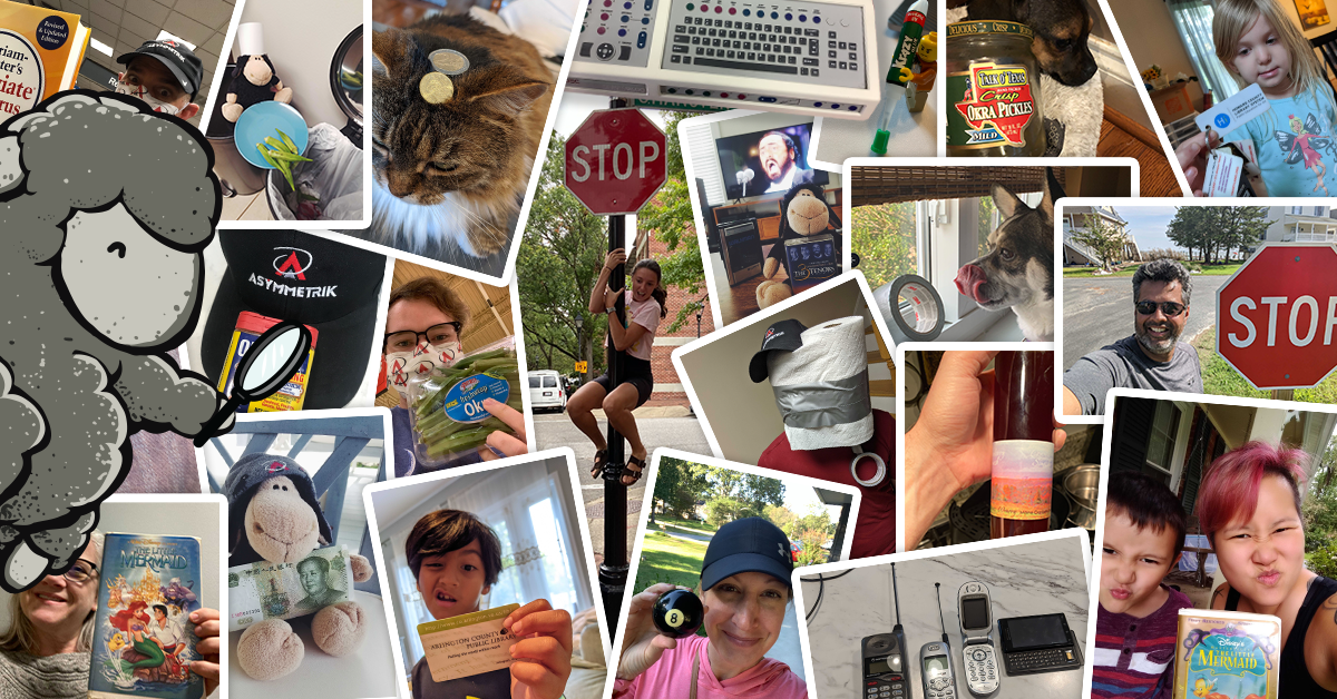 photo collage of employees holding up scavenger hunt items
