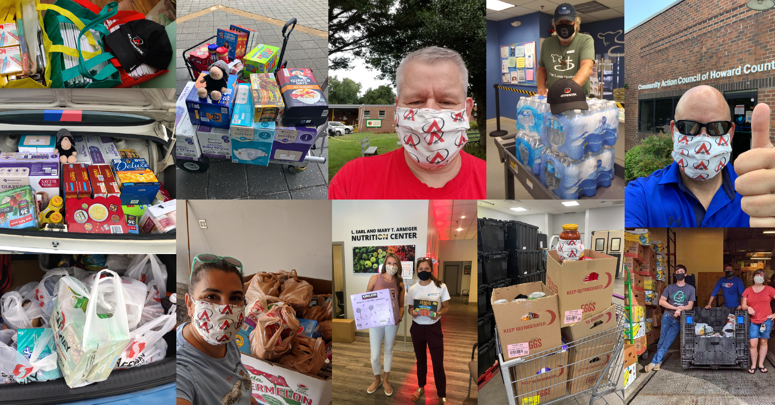 photo collage of food bank donations